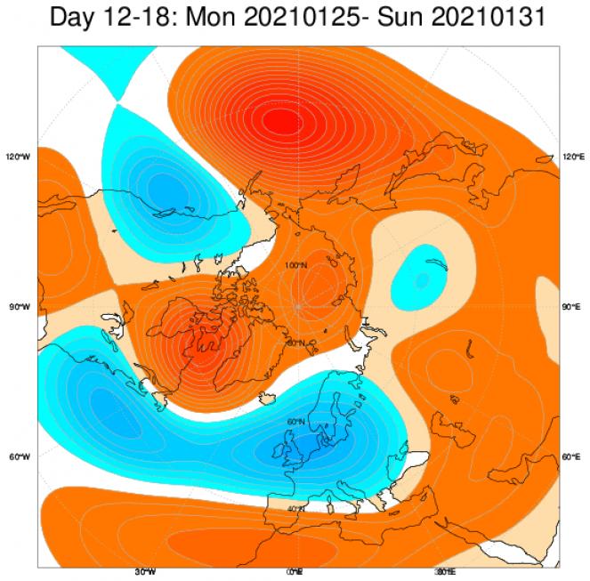 Le anomalie di geopotenziali sull'Europa, secondo il modello ECMWF, mediate sul periodo 25-31 gennaio