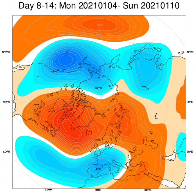 Le anomalie di geopotenziali sull Europa, secondo il modello ECMWF, mediate sul periodo 4-10 gennaio