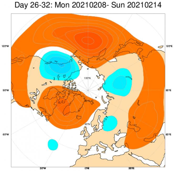 Le anomalie di geopotenziali sull'Europa, secondo il modello ECMWF, mediate sul periodo 8-14 febbraio