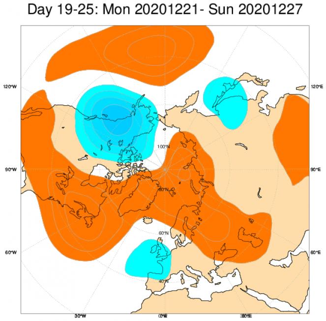 Le anomalie di pressione e geopotenziale secondo il modello ECMWF mediate nel periodo 21-27 dicembre