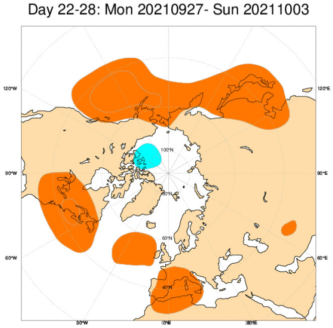 Le anomalie di pressione e geopotenziale secondo il modello ECMWF mediate nel periodo 27 settembre - 3 ottobre