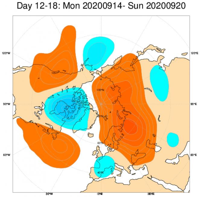 Le anomalie medie di geopotenziale attese a 500hPa dal modello ECMWF, mediate sul periodo 14-20 settembre