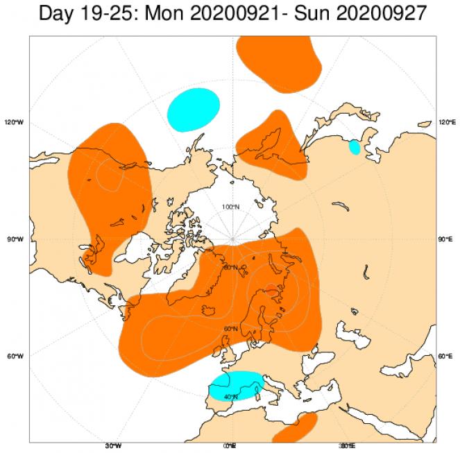 Le anomalie medie di geopotenziale attese a 500hPa dal modello ECMWF, mediate sul periodo 21-27 settembre