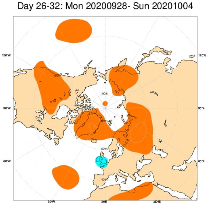 Le anomalie medie di geopotenziale attese a 500hPa dal modello ECMWF, mediate sul periodo 28 settembre 4 ottobre