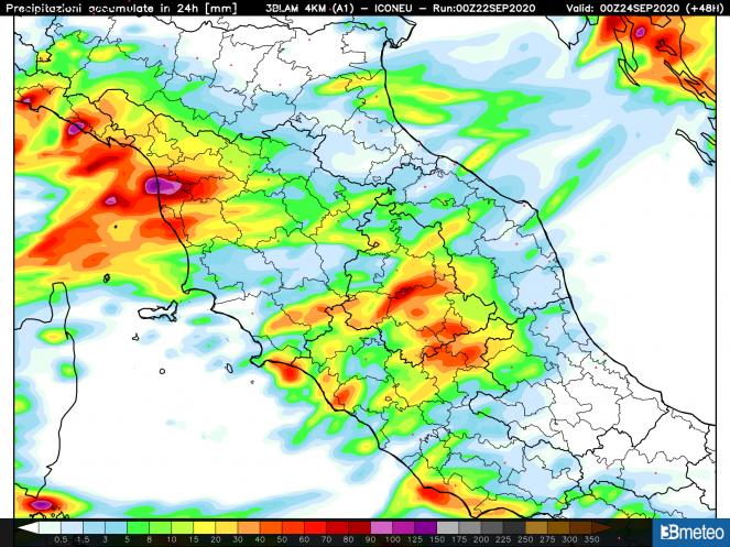 Le aree della Toscana a maggiore rischio nubifragi nel corso del 23 settembre.