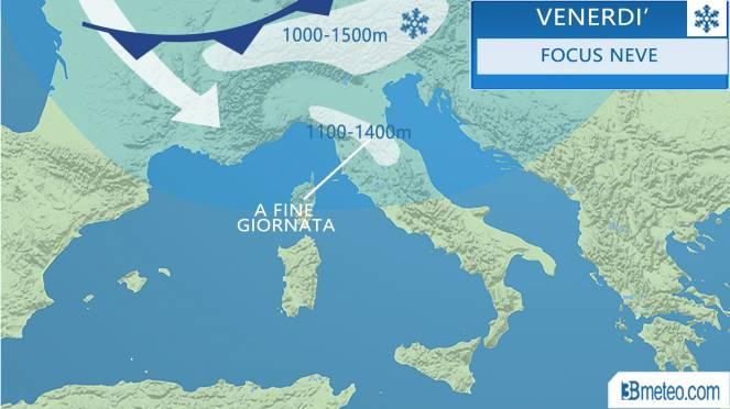 Meteo, da venerdì nuovo peggioramento: torna la neve su Alpi e Appennini