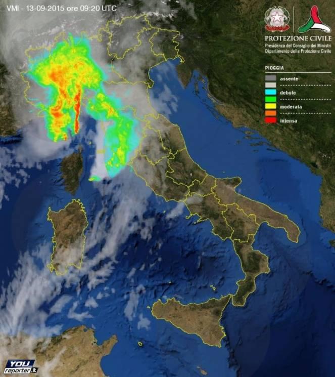 Le piogge intense evidenziate dal Radar, questa mattina
