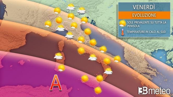 Le previsioni del tempo per venerdì 6 agosto