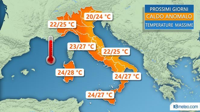 Le temperature massime previste nei prossimi giorni in Italia