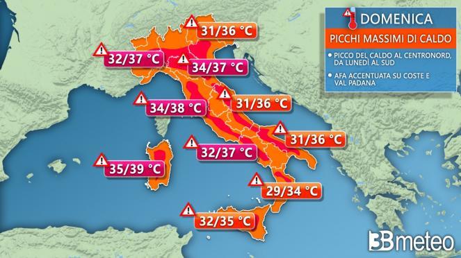 Le temperature previste domenica in Italia