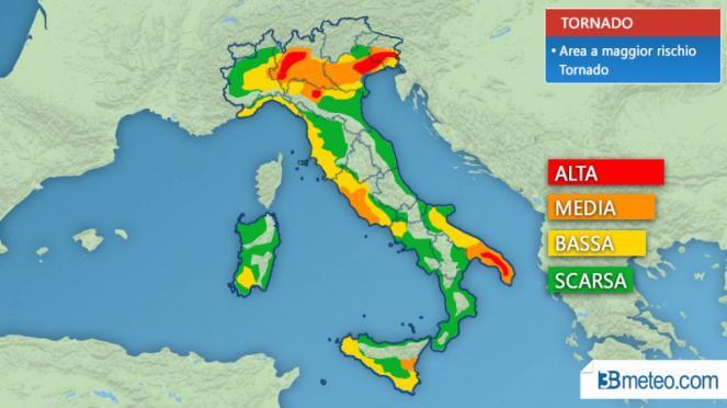 Le zone a rischio tornado in Italia