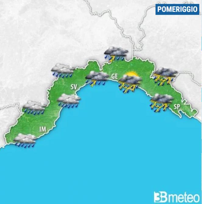 Liguria - Evoluzione prevista per domenica pomeriggio