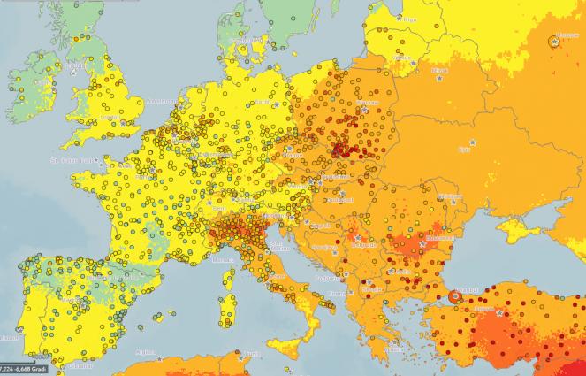 Livelli di inquinamento da pm10 in Europa, anno 2013, fonte Oms