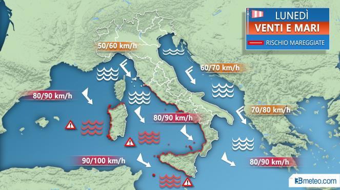 Allerta meteo domenica 9 dicembre: vento forte e mare in burrasca