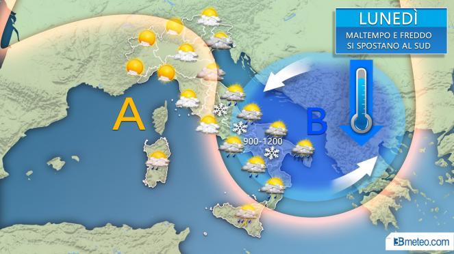 Lunedì, vortice freddo in azione su medio Adriatico e Sud