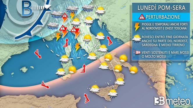 Maltempo a inizio settimana sull'Italia
