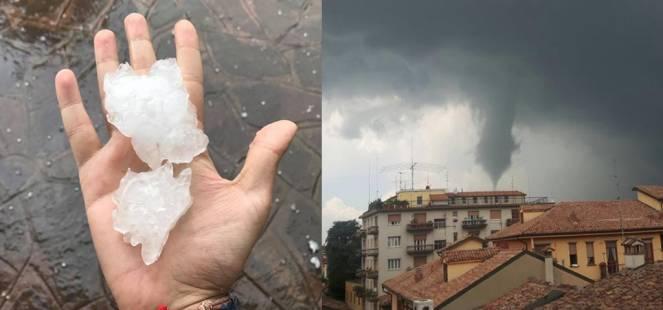 Maltempo: a sinistra la grandine a Sedriano (MI), foto di Fabio de Bianchi, a destra il tornado di Cremona (inviatoquotidiano.net)