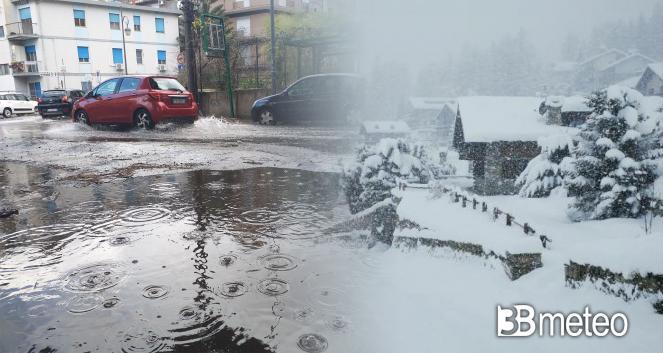 Maltempo, forti piogge al Nord, neve abbondante sulle Alpi