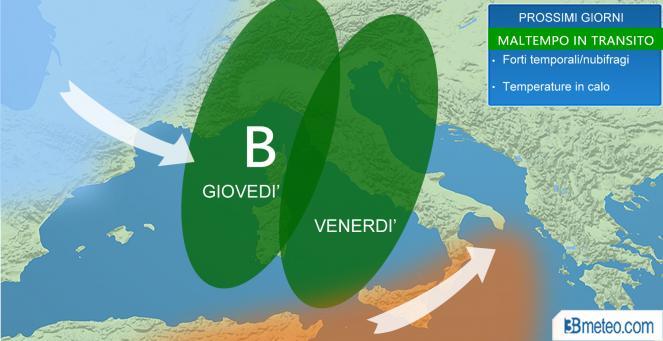 maltempo in italia da giovedì