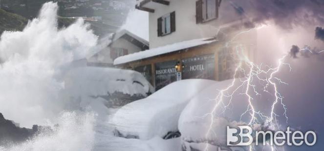 Maltempo sull'Italia: piogge, temporali, neve e venti forti