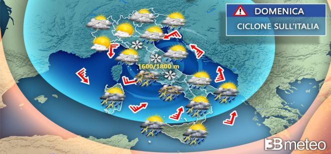 DOMENICA e INIZIO SETTIMANA con ancora piogge, TEMPORALI e CLIMA fresco, dettagli