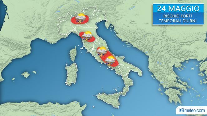 mappa delle zone a maggior rischio di temporali localmente forti