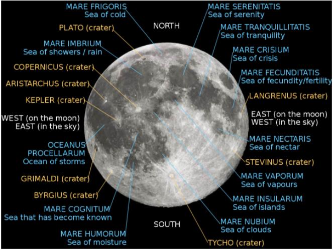 Mari e crateri Luna ( Spacecraft.it)