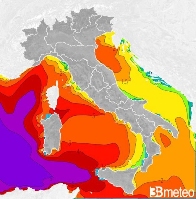 Mari previsti giovedì sull'Italia