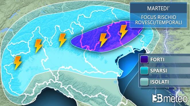 Martedì temporali, aree più colpite