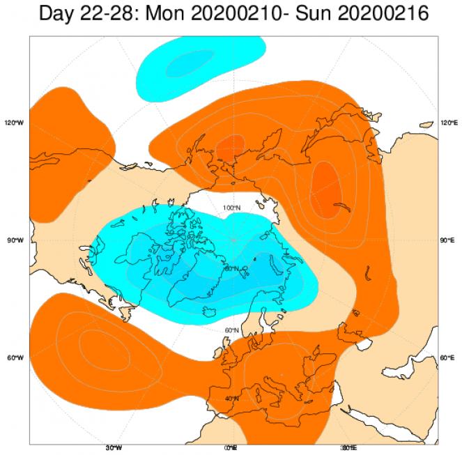 Media di ensemble del modello inglese ECMWF relativa all'anomalia di Altezza di Geopotenziale a 500 hPa (circa 1.500 metri) per il periodo 10-16 febbraio 2020