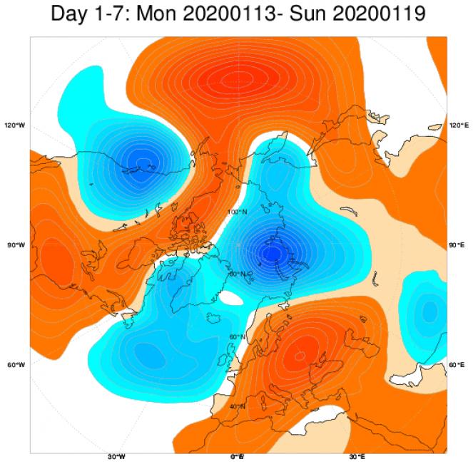 Media di ensemble del modello inglese ECMWF relativa all'anomalia di Altezza di Geopotenziale a 500 hPa (circa 1.500 metri) per il periodo 14-20 gennaio 2020