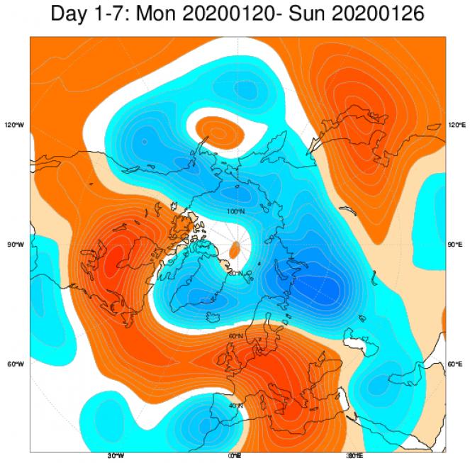 Media di ensemble del modello inglese ECMWF relativa all'anomalia di Altezza di Geopotenziale a 500 hPa (circa 1.500 metri) per il periodo 20-26 gennaio 2020