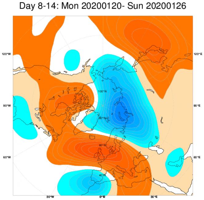 Media di ensemble del modello inglese ECMWF relativa all'anomalia di Altezza di Geopotenziale a 500 hPa (circa 1.500 metri) per il periodo 21-27 gennaio 2020