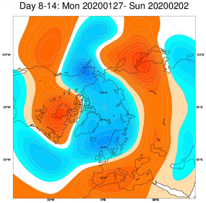 Media di ensemble del modello inglese ECMWF relativa all'anomalia di Altezza di Geopotenziale a 500 hPa (circa 1.500 metri) per il periodo 27 gennaio -2 febbraio 2020