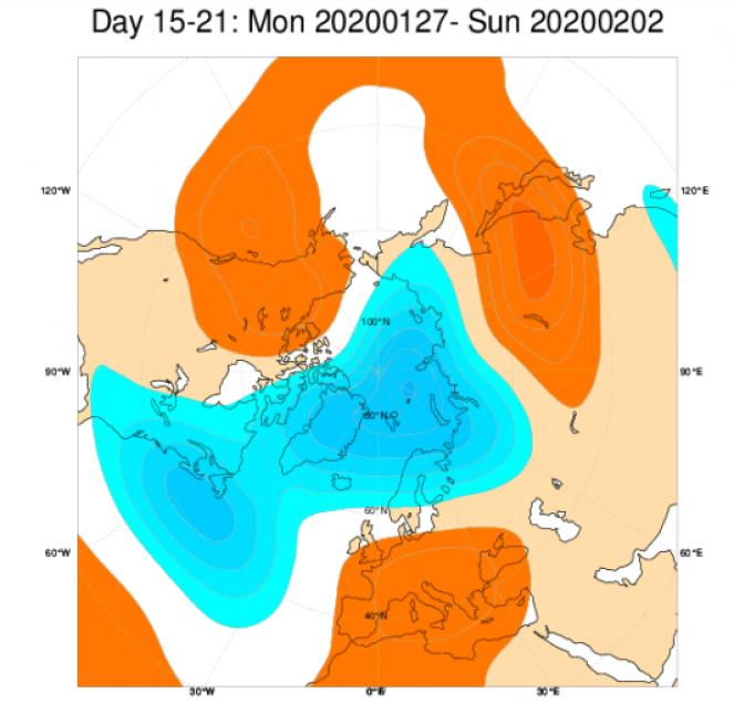 Media di ensemble del modello inglese ECMWF relativa all'anomalia di Altezza di Geopotenziale a 500 hPa (circa 1.500 metri) per il periodo 28 gennaio - 3 febbraio 2020
