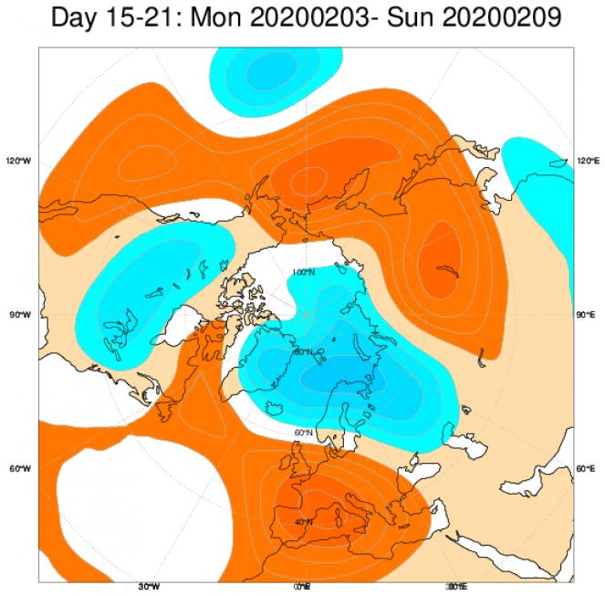 Media di ensemble del modello inglese ECMWF relativa all'anomalia di Altezza di Geopotenziale a 500 hPa (circa 1.500 metri) per il periodo 3-9 febbraio 2020