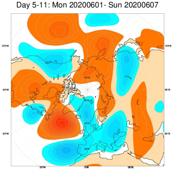 Media di ensemble del modello inglese ECMWF relativa all'anomalia di Altezza di Geopotenziale a 500 hPa (circa 5.500 metri) per il periodo 1-7 giugno 2020