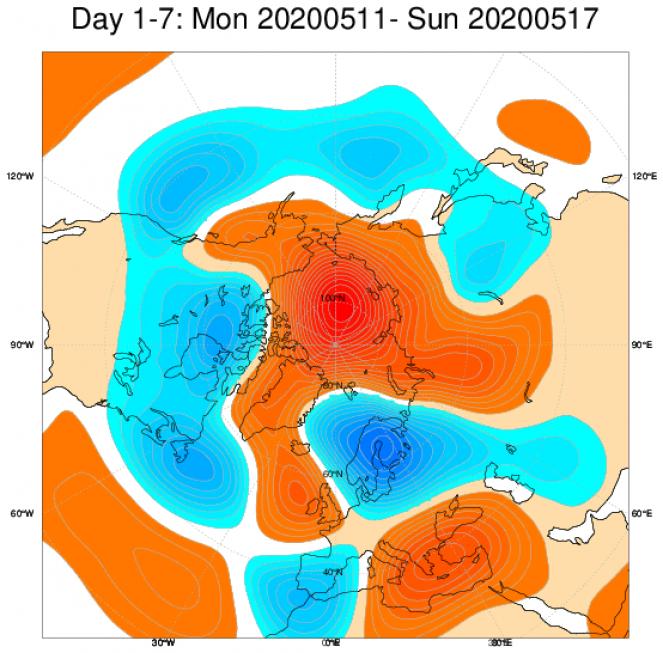 Media di ensemble del modello inglese ECMWF relativa all anomalia di Altezza di Geopotenziale a 500 hPa (circa 5.500 metri) per il periodo 11-17 maggio 2020