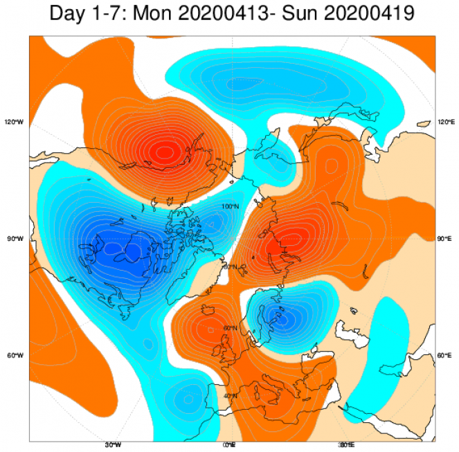 Media di ensemble del modello inglese ECMWF relativa all anomalia di Altezza di Geopotenziale a 500 hPa (circa 5.500 metri) per il periodo 13-19 aprile 2020