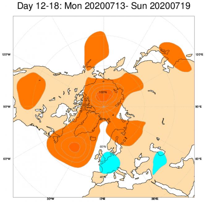 Media di ensemble del modello inglese ECMWF relativa all'anomalia di Altezza di Geopotenziale a 500 hPa (circa 5.500 metri) per il periodo 13-19 luglio 2020