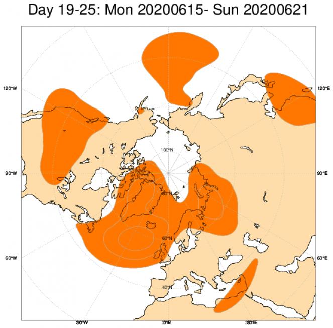 Media di ensemble del modello inglese ECMWF relativa all'anomalia di Altezza di Geopotenziale a 500 hPa (circa 5.500 metri) per il periodo 15-21 giugno 2020