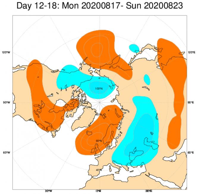 Media di ensemble del modello inglese ECMWF relativa all'anomalia di Altezza di Geopotenziale a 500 hPa (circa 5.500 metri) per il periodo 17-23 agosto 2020