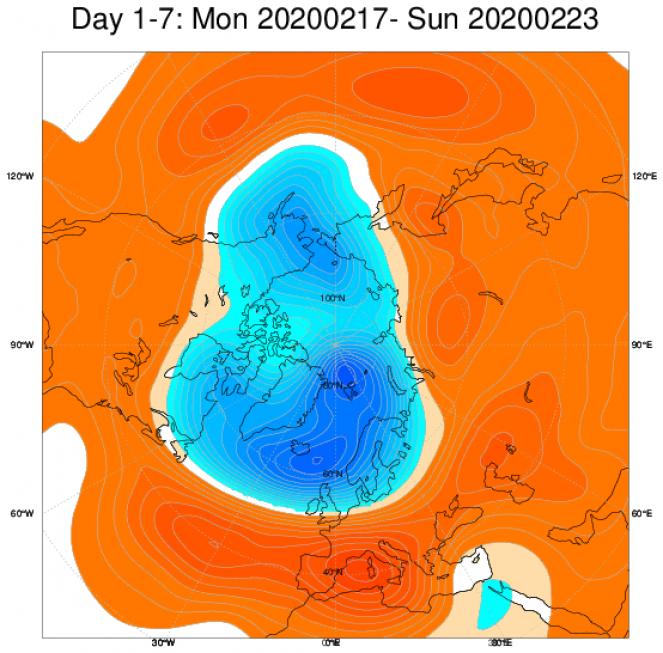 Media di ensemble del modello inglese ECMWF relativa all'anomalia di Altezza di Geopotenziale a 500 hPa (circa 5.500 metri) per il periodo 17-23 febbraio 2020