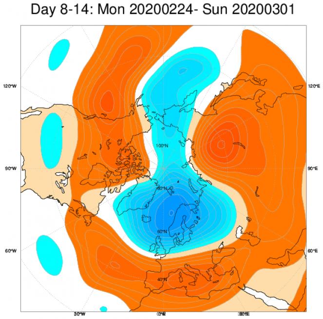Media di ensemble del modello inglese ECMWF relativa all'anomalia di Altezza di Geopotenziale a 500 hPa (circa 5.500 metri) per il periodo 24 febbraio - 1 marzo 2020