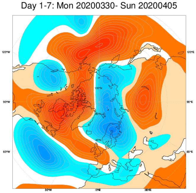 Media di ensemble del modello inglese ECMWF relativa all'anomalia di Altezza di Geopotenziale a 500 hPa (circa 5.500 metri) per il periodo 30 marzo - 5 aprile 2020