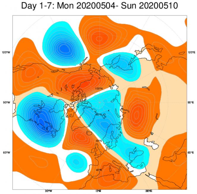 Media di ensemble del modello inglese ECMWF relativa all anomalia di Altezza di Geopotenziale a 500 hPa (circa 5.500 metri) per il periodo 4-10 maggio 2020