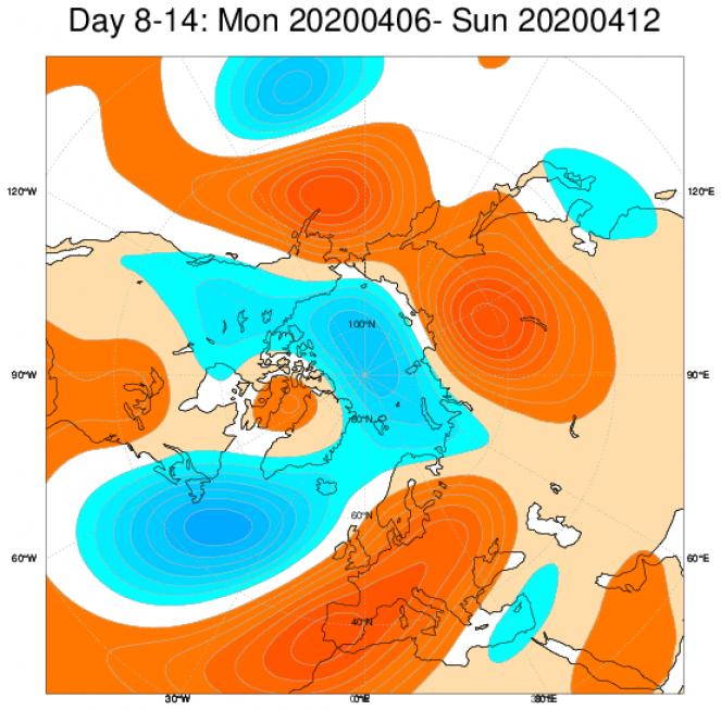 Media di ensemble del modello inglese ECMWF relativa all'anomalia di Altezza di Geopotenziale a 500 hPa (circa 5.500 metri) per il periodo 6-12 aprile 2020