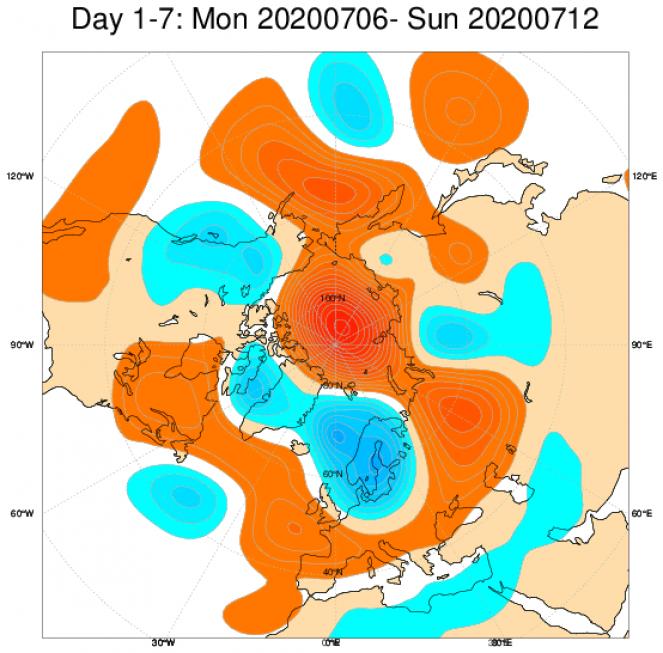 Media di ensemble del modello inglese ECMWF relativa all'anomalia di Altezza di Geopotenziale a 500 hPa (circa 5.500 metri) per il periodo 6-12 luglio 2020