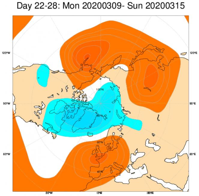 Media di ensemble del modello inglese ECMWF relativa all'anomalia di Altezza di Geopotenziale a 500 hPa (circa 5.500 metri) per il periodo 9-15 marzo 2020