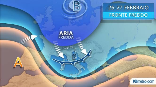 Mercoledì delle Ceneri, fronte freddo sull'Italia con pioggia, vento e neve